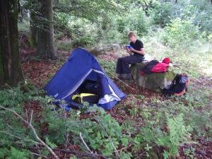Såhär såg vårt läger för natten ut.