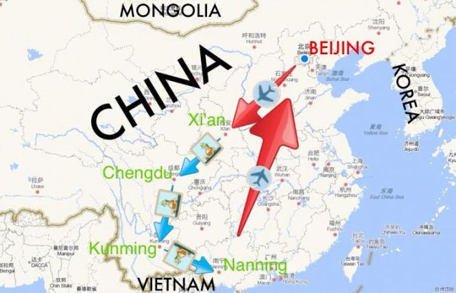 China Backpacking Map